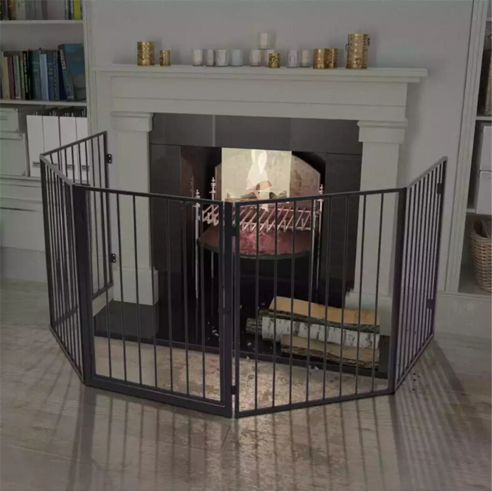 VidaXL Steel Black Pet Fireplace Fence With Swing-Gate Door Safe And Durable Pet Protection Tool Simple Stylish Easy To Assemble