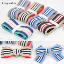 Kewgarden 1 25mm Stripe Cotton Satin Ribbons Handmade Tape DIY Ribbon Bow Brooch 8M / Lot