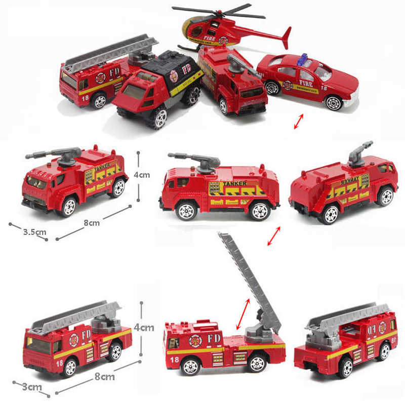 1:64 5Pcs/Set Diecast Alloy Firefighting Car Model Aircraft Toy Military Police Military Construction Vehicle Model Toys For Boy