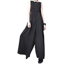 2019 spring and summer new European big trousers straps wide leg pants womens overall 202