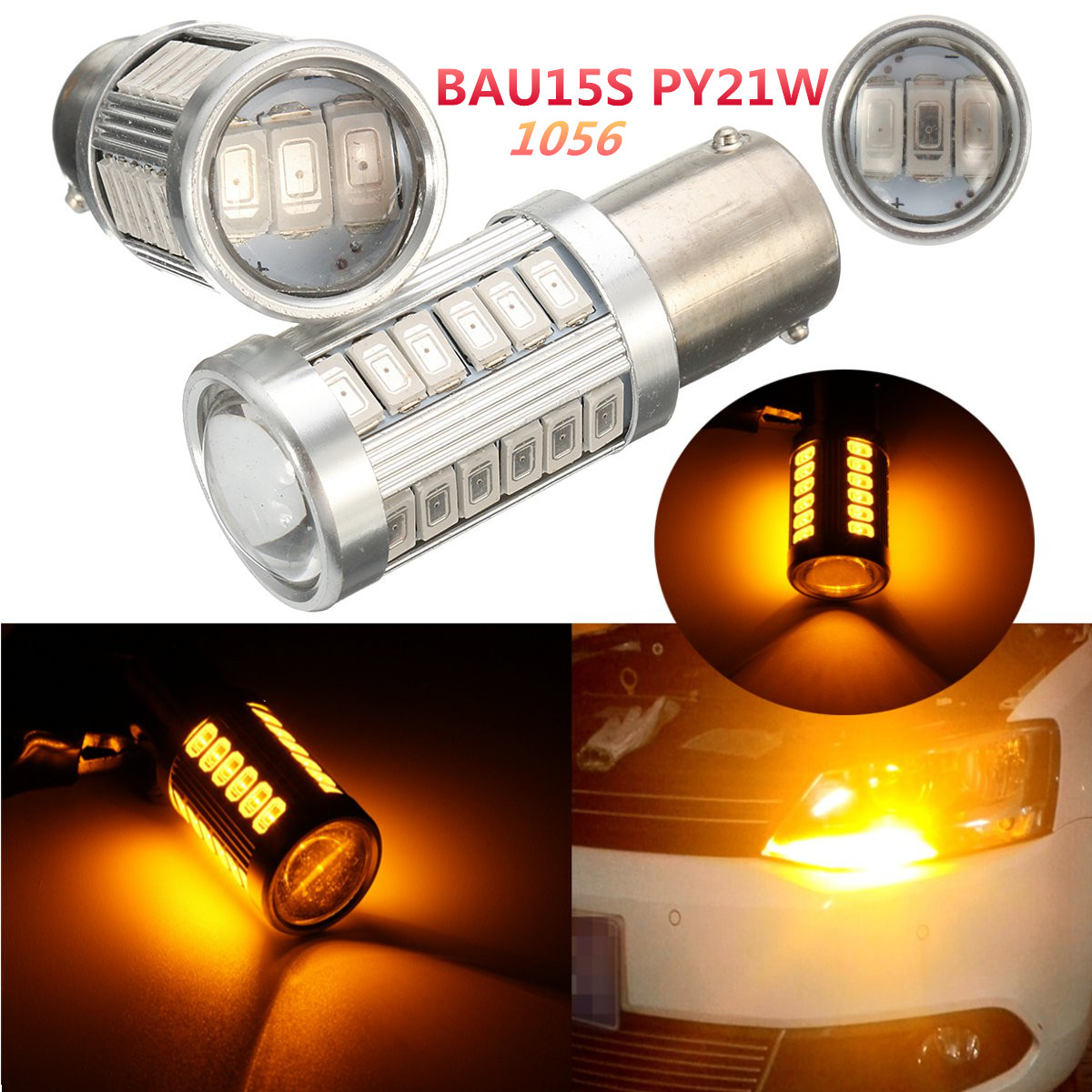 2pcs 33 SMD 5630 Amber 1156 PY21W Parking Lamp Brake Turn Signal Lights BAU15S33 Tail Parking Light Bulbs2pcs 33 SMD 5630 Amber 1156 PY21W Parking Lamp Brake Turn Signal Lights BAU15S33 Tail Parking Light Bulbs