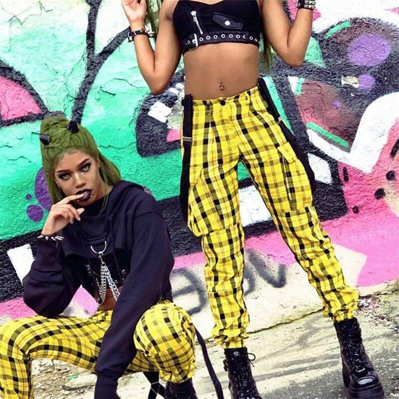 Ulzzang Harajuku pantalon à carreaux Cargo femme Hipsters salopette pantalon damier japonais Streetwear bretelles élégant bavoir jaune
