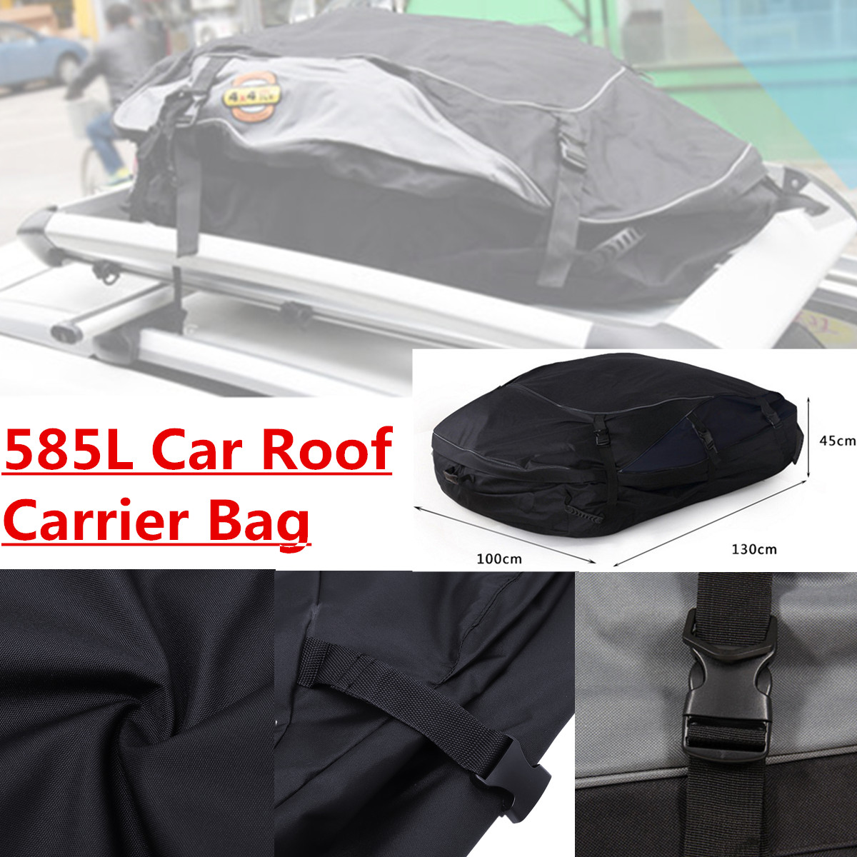 130X100X45 cm sac de toit de voiture sac de toit supérieur porte-bagages transporteur de bagages voyage étanche Touring SUV Van pour les voitures - 2