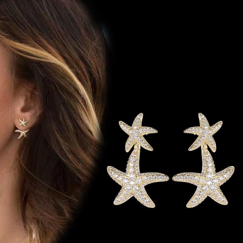Fashional Crystal Cubic Zirconia CZ Copper starfish Stud Earring for Women Girl Pierced Earring Pin 10775