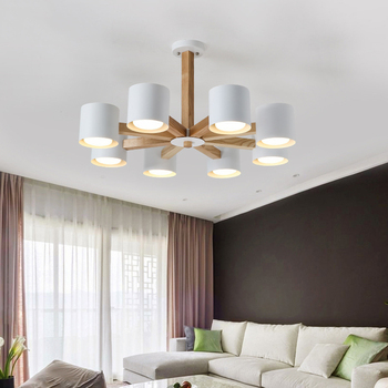 Lustres de LED en bois modernes salon chambre Restaurant ...