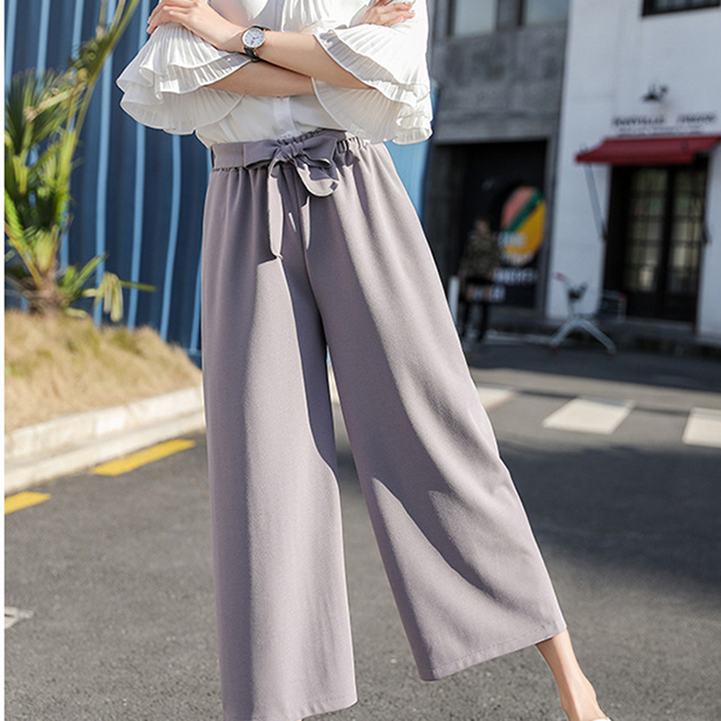 2019 new Women Chiffon High Waist Wide Leg Pants Bow Tie Drawstring Sweet Elastic Waist Loose Ankle length Pants Trousers in Pants amp Capris from Women 39 s Clothing