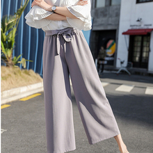 2019 new  Women Chiffon High Waist Wide Leg Pants Bow Tie Drawstring Sweet Elastic Waist Loose Ankle-length Pants Trousers scallop hem tie waist wide leg pants