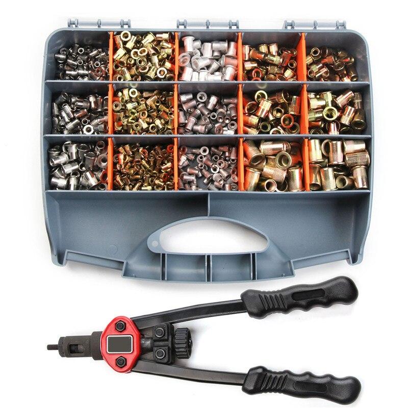900 pièces/ensemble Écrou Rivet Gun Kit M3 M4 M5 M6 M8 M10 Écrou Fileté Rive de Réparation Des Ménages Manuel Riveteuses Main aveugle Rivet Outil