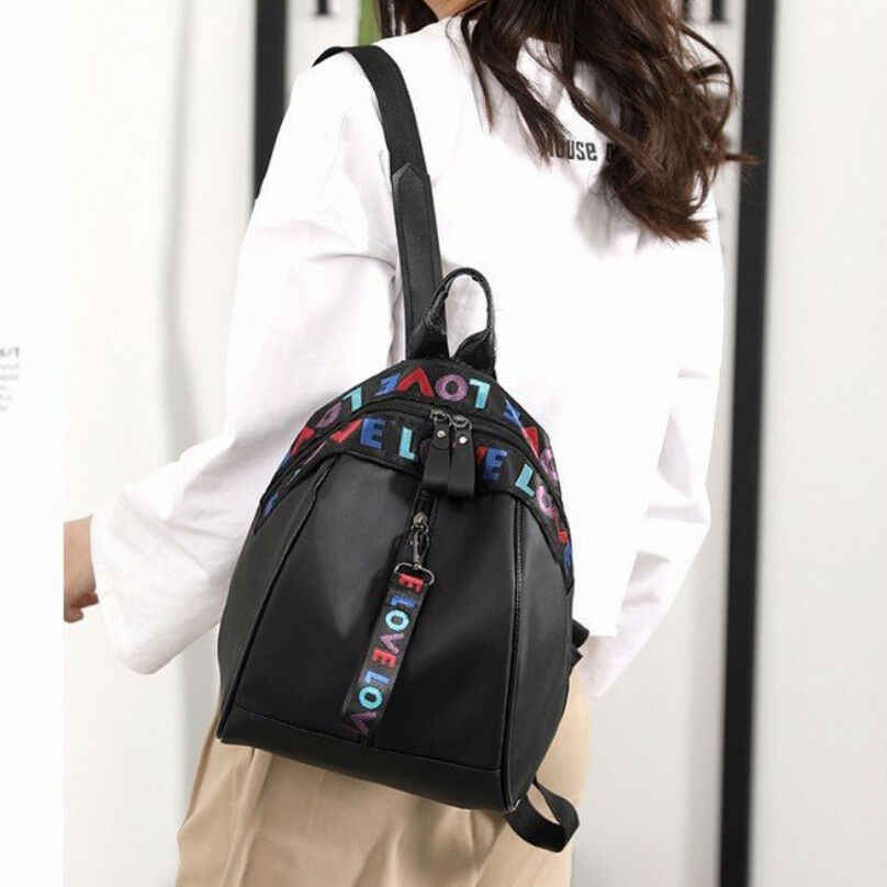 Moda feminina mochila preta simples carta tendência zipper mochila de viagem bolsa de ombro