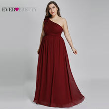 d2b67075f Plus Size Prom Dresses Long Ever Pretty EP08237 2019 A-line Burgundy  One-shoulder Chiffon Elegant Navy Blue Wedding Guest Gowns