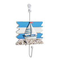 Wall Hook Wood Conch Home Hanging Crafts Art Hanger Decorations Mediterranean Style