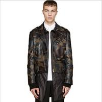 Камуфляж Настоящее мужская кожаная куртка демисезонный для мужчин новый Chaqueta Cuero Hombre пояса из натуральной кожи Куртки Veste Cuir Homme