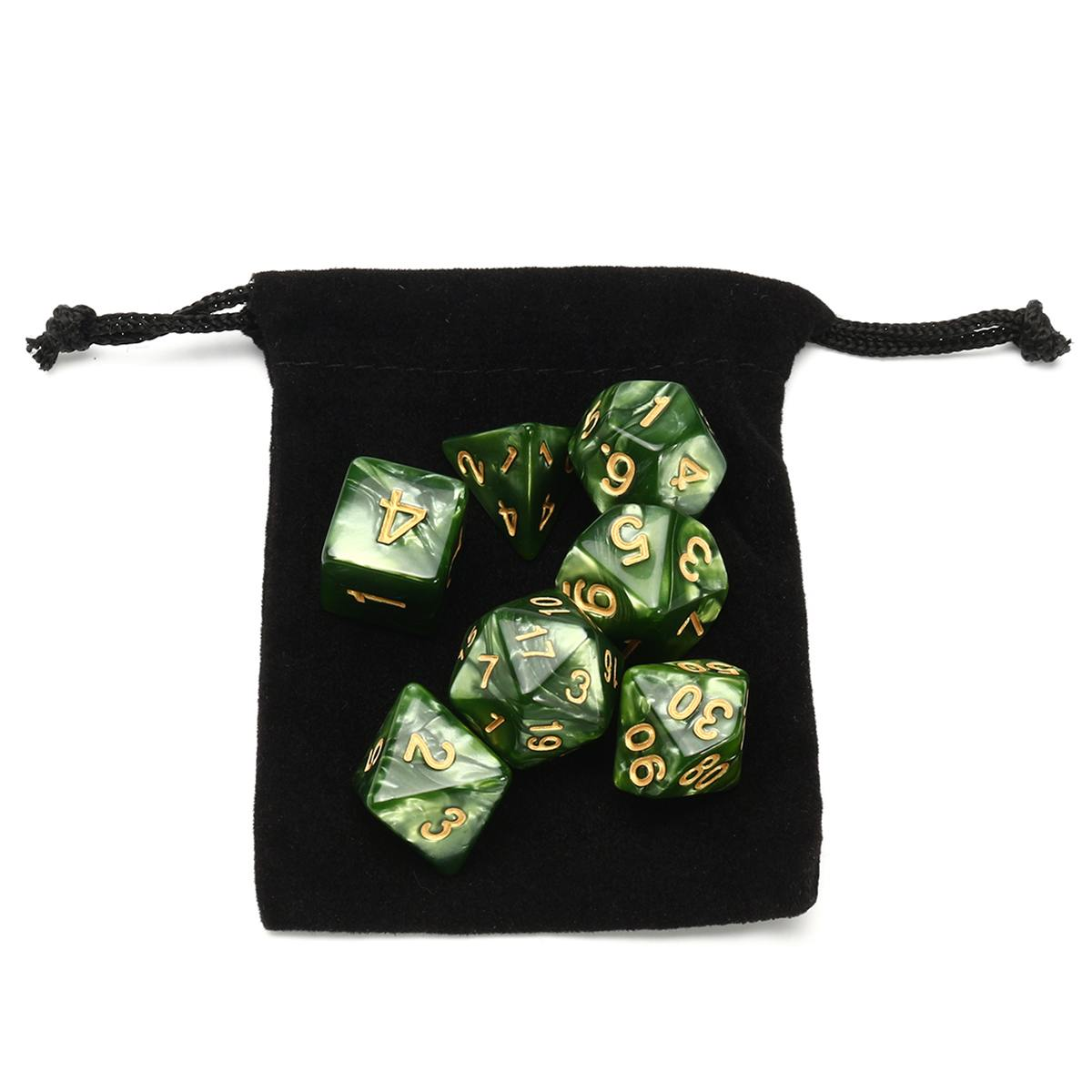 7 Pcs Luminous Green Marble TRPG Polyhedral Glitter Dice Mult-sided RPG Dice Set Gadget Role Playing Dice Board Game With Bag