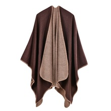 2017 brand women poncho and capes cashmere knit Thicken warm winter scarf solid color oversized Blanket lady shawl Overwear Coat
