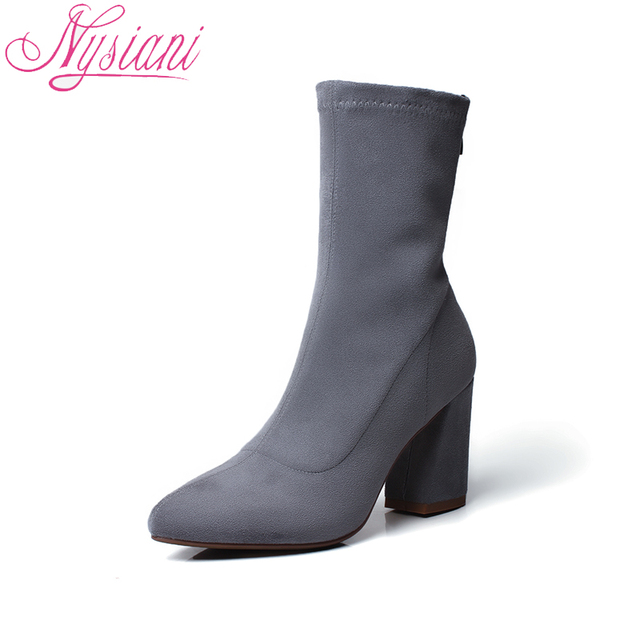 2018 Pointed Toe Women Boots Mid-Calf Design Autumn Winter Fashion High Heels Boots Women Flock Ladies Thick Heels Boots Nysiani