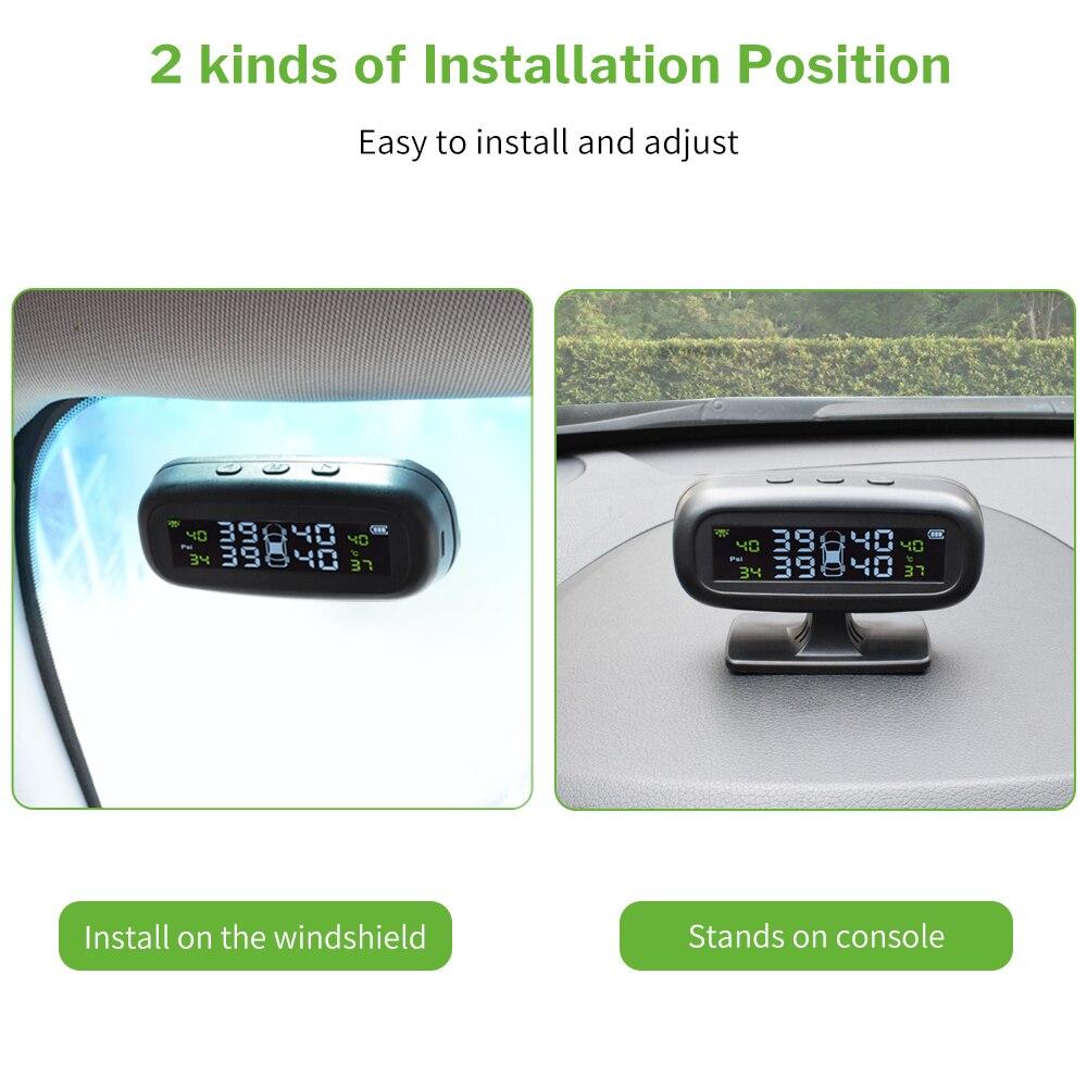 Deelife TPMS coche de control de presión de sistema de alarma parabrisas neumático Solar Sensor de Monitor interno externo de los sistemas de seguridad - 5