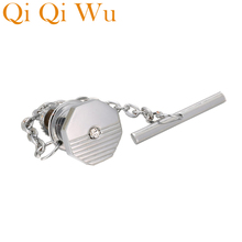 Qi Wu Mens Crystal Tie Tack Clutch Pins Wedding Gifts Jewelry Shirt Accessory Silver Chain Guard Pin Backs Locking