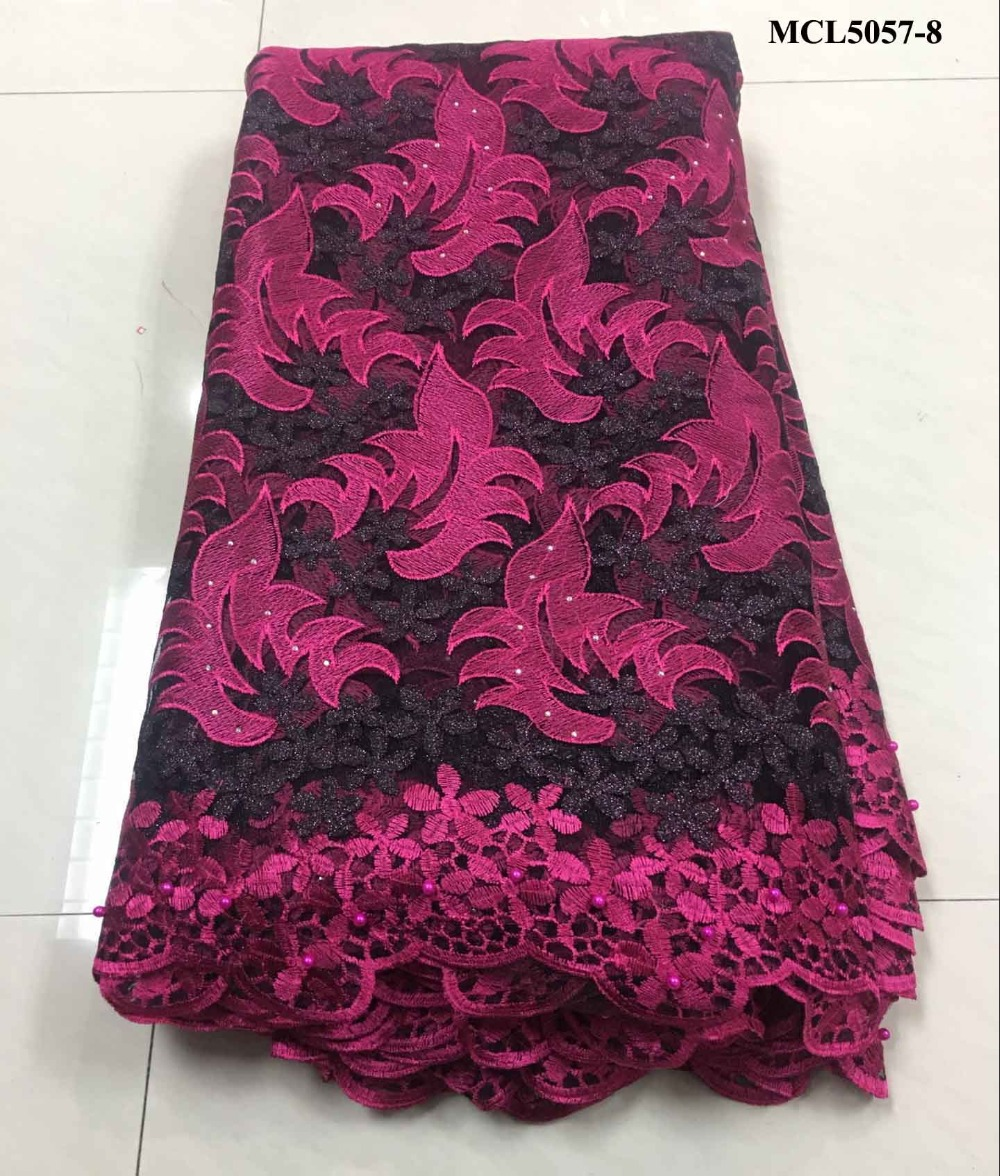 Tollola Pink Nigerian French Lace Fabrics 2018 African