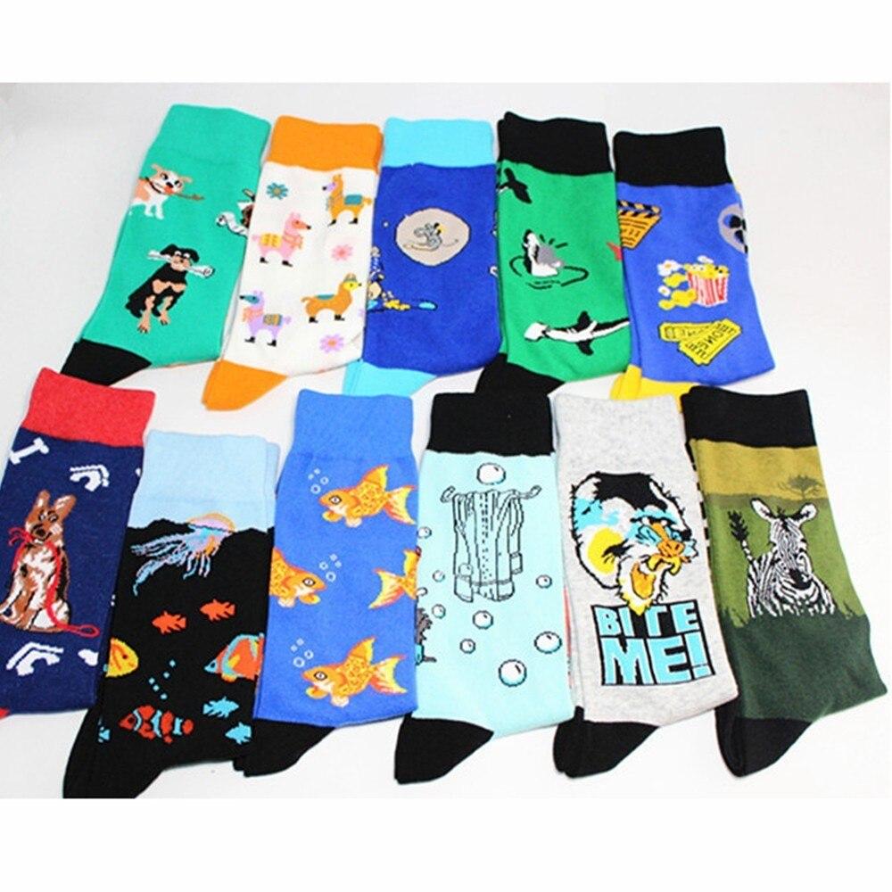 PEONFLY  Cool Food Animal Hip Hop Crew Socks Funny Street Happy Socks Men Harajuku Divertidos Skateboard Chaussette Homme