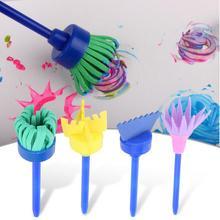 4 шт./компл. Детский рисунок «сделай сам» Губка для рисования кисть цветок граффити Рисование инструмент для живописи Развивающие игрушки для детей Подарки