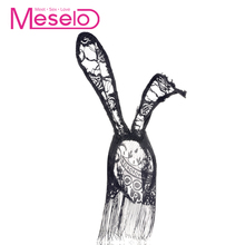Meselo Sexy Lace Rabbit Ears Tassels Face Mask Cosplay Sex Toys For Couples Flirting Bunny Girls Lace Long Ears Adult Games New