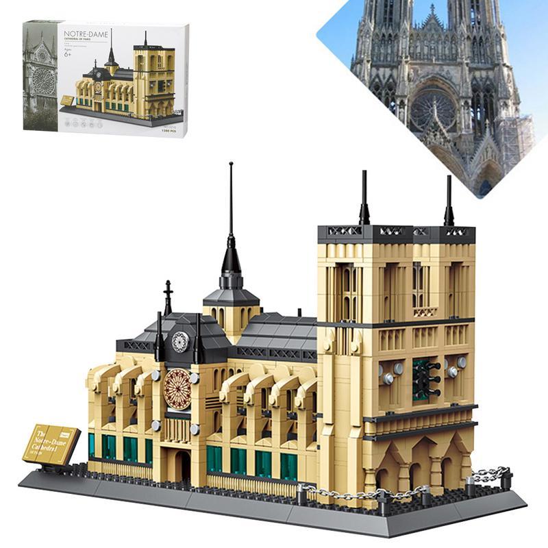 Architecture notre-dame De Paris blocs De construction ensembles ville briques classique horizon modèle enfants cadeau 3D Puzzle assemblage jouets