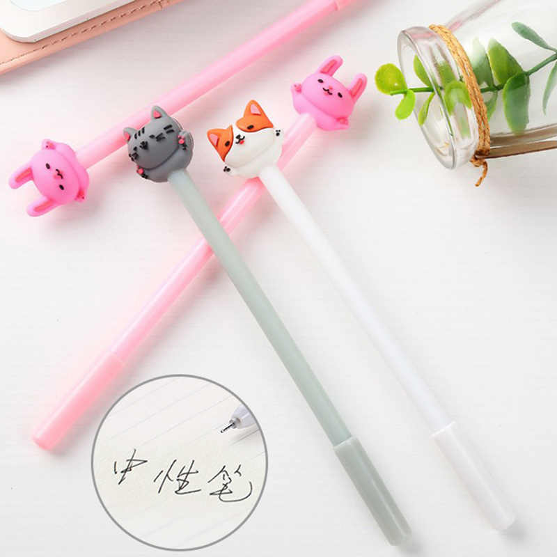 Cute Cartoon Cat Gel Pen 0.5mm Kawaii Black Ink Neutral Pen For Kids Girls Gift Writing School Office Supplies Korean Stationery