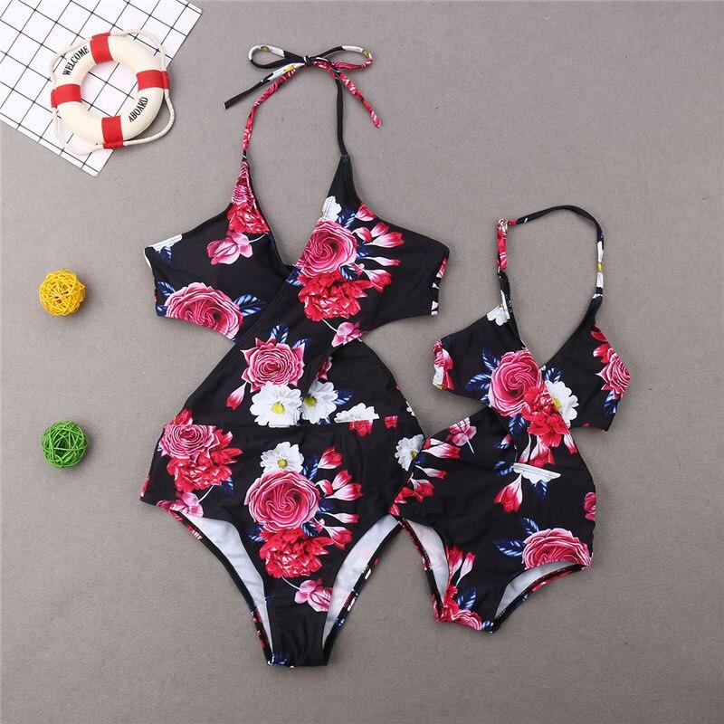 Family Matching Swimwear Mother Daughter Floral Swimsuit Women Halter Monokini Kids Girls Swimming Suit Summer Beachwear Bathing