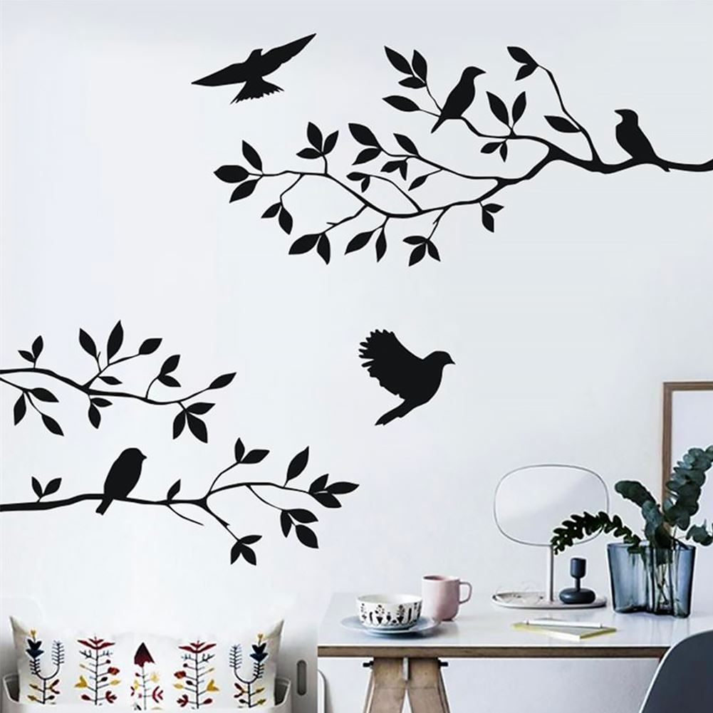 Perto da natureza pássaro no ramo da árvore adesivo de parede criativo arte da parede decalque sala estar quarto dos miúdos removível pássaro