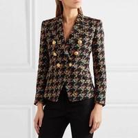 New Runway Designer Houndstooth Tweed Blazers Women Double breasted Lapel Blazer Autumn Lady Long Sleeve Coats