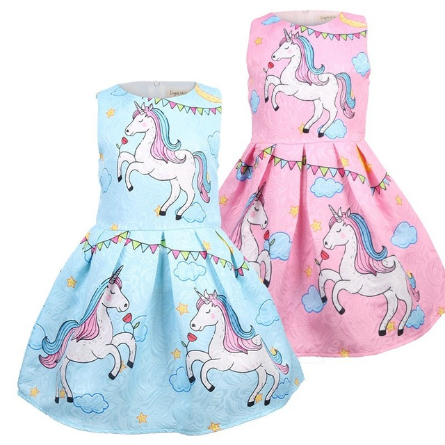 2019 Trẻ Em của Cô Gái Quần Áo Mùa Hè Phong Cách Ăn Mặc Mới Ngắn Tay Áo Unicorn Kids Dresses