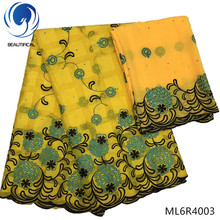BEAUTIFICAL yellow swiss fabrics for clothes new arrvial embroidery cotton wholesale ML6R40