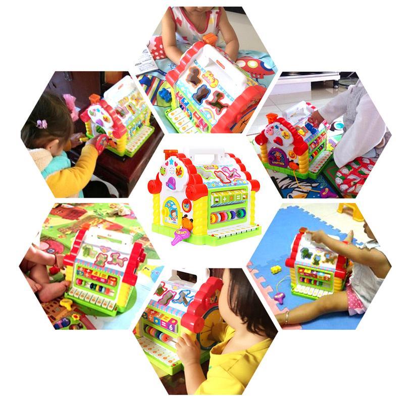 Cube d'activité avec perle labyrinthe drôle maison jouer jouet début d'apprentissage Puzzle cognitif jouet blocs de construction clavier Playset pour bébé - 6
