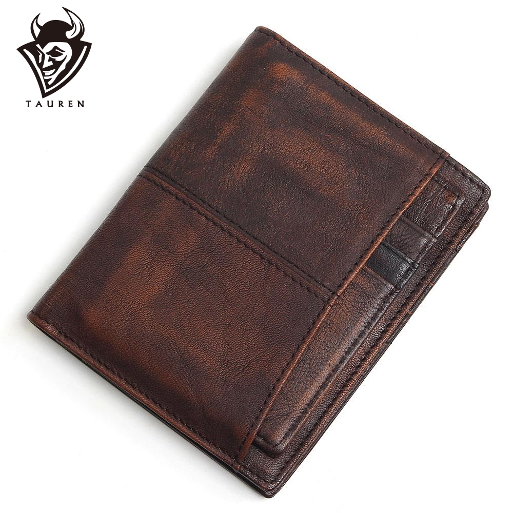 RFID Blocking 100% Cow Genuine Leather Men Wallets Luxury,Brush Color Short Style Male Purse,Carteira Masculina Original Brand