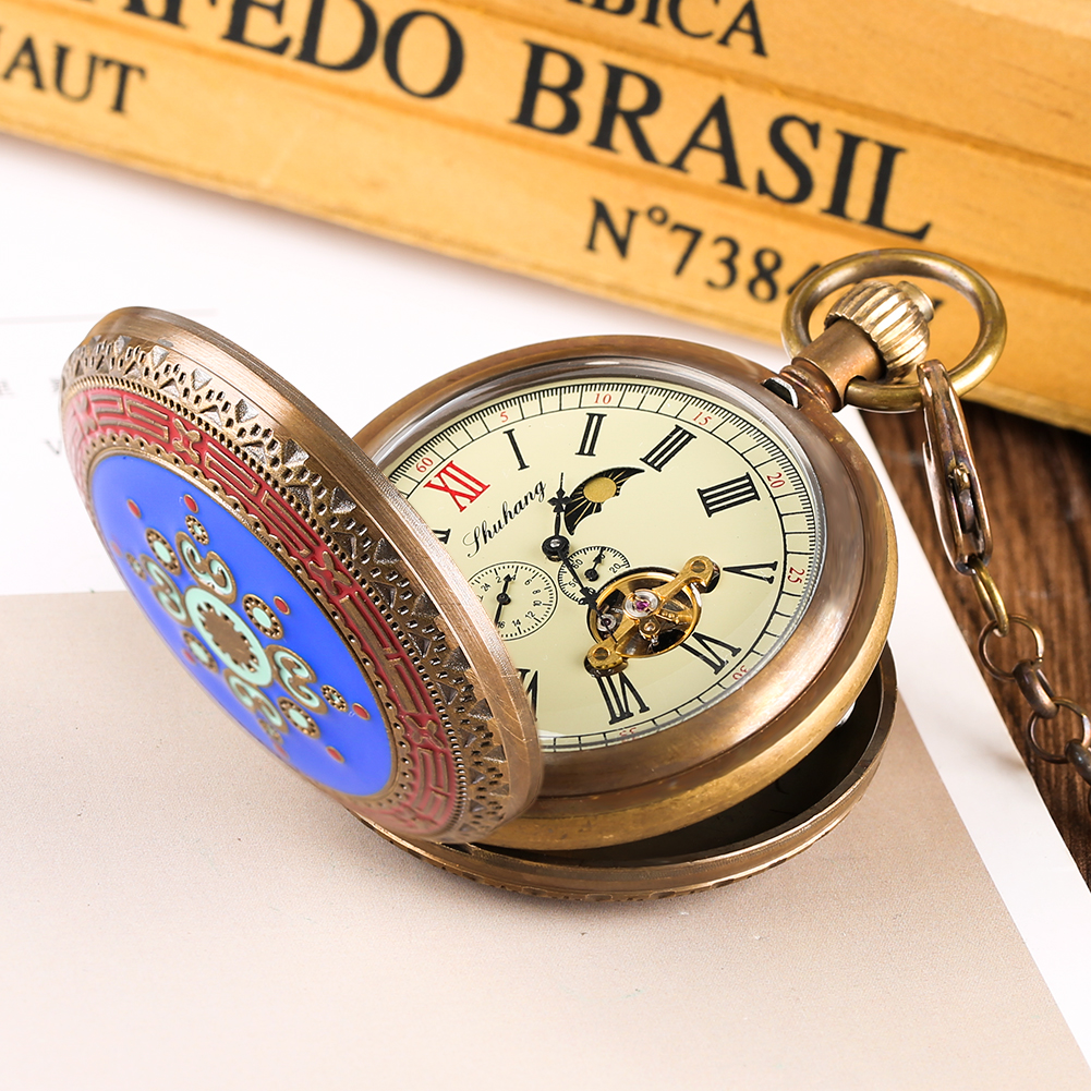 Retro Double Full Hunter Mechanical Pocket Watch For Men Pure Copper Horizontal Phases Moon Sun 24-Hour Watches For Women Gift