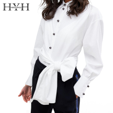 HYH HAOYIHUI 2019 New Tops Office Commuter Ladies Long Sleeve Bow Slim White Shirt Female Cute