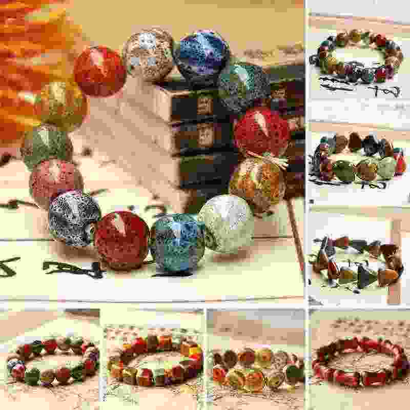 Hot Colorful Beads Heart Ceramic stone Bracelets for women Round Men Bracelet Bone  Handmade Bangle Couple gift