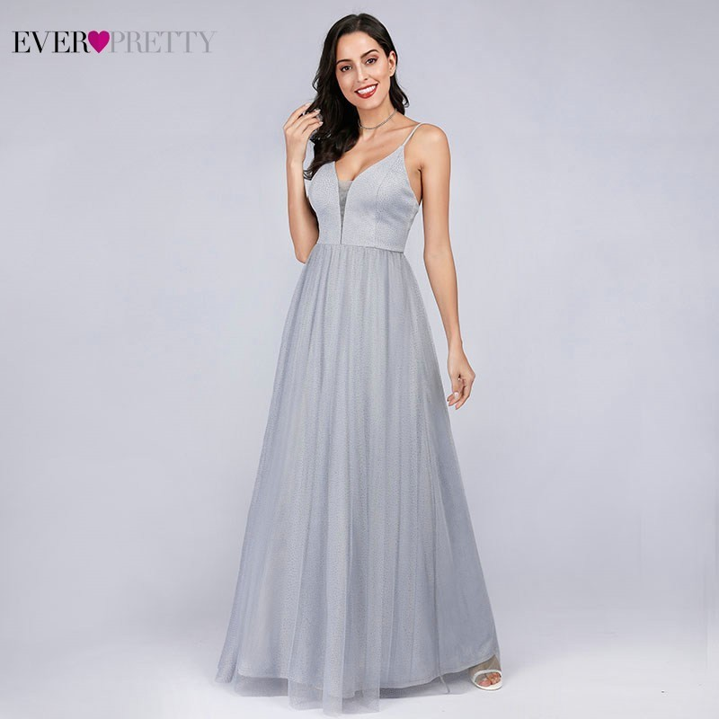 Eelgant Evening Dresses 2020 Ever Pretty EP07904GY V-Neck A-Line Tulle Sparkle Women Gray Long Formal Dresses Robe De Soiree