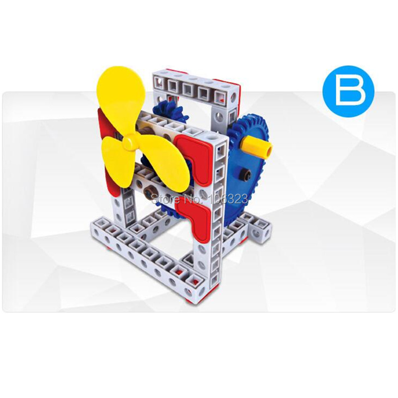 Physics Experimenting Gizmo, Assembling Gears Toys, Flying Propeller 4 Forms Mechanics Learn Science Educational Building Blocks
