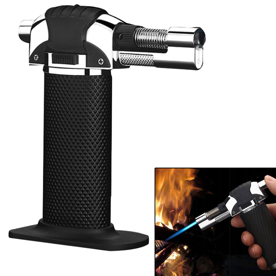 BBQ Brazing Gas Torch Gas Adjustable Flame Inflated Flame Gun Butane Lighter Burning Electricity Ignite Welding Outdoor Camping цена