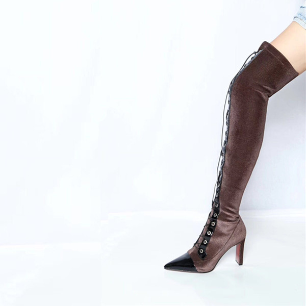 bota feminina Shoes Woman Knight boots Leather High Heels Pointed Toes Boots Over-the-knee Lace-up Boots Woman zapatos de mujerbota feminina Shoes Woman Knight boots Leather High Heels Pointed Toes Boots Over-the-knee Lace-up Boots Woman zapatos de mujer