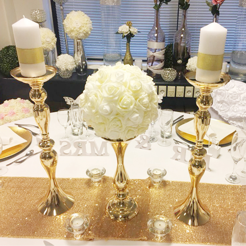10PCS Gold Candle Holders Stands 50cm 32cm Stand Flowers Floor Vase Metal Candlestick Candelabra Wedding Centerpieces