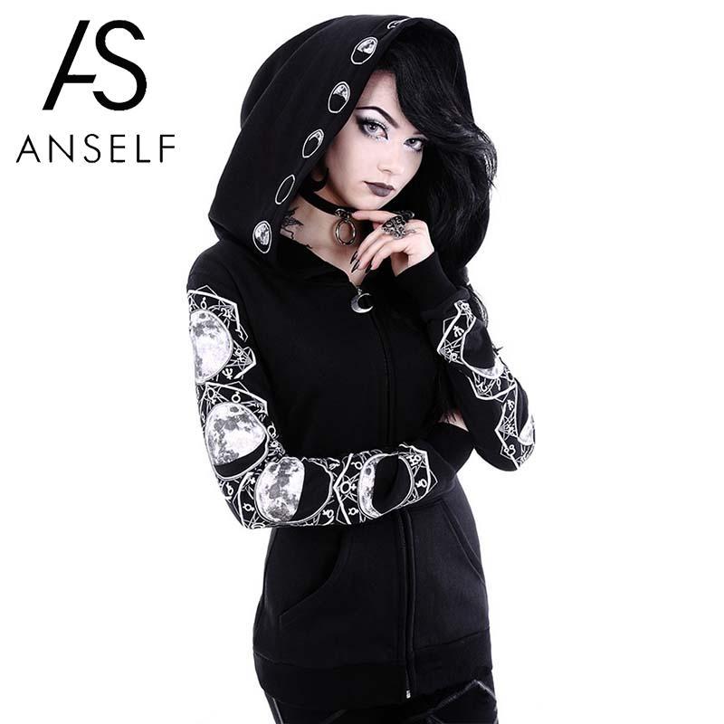 Anself Women Gothic Hooded Top Zipper Pockets Letter Moon Print Gothic Puck Hoodies Casual Hatajuku Pullover Sweatshirt Black
