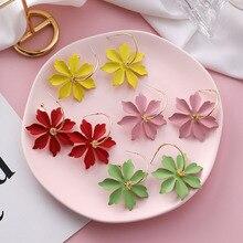 2019 Hottest Fashion New Sun Flower Flowers Brincos Oorbellen Bijoux Geometric Circle Hoop Earrings For Women Jewelry