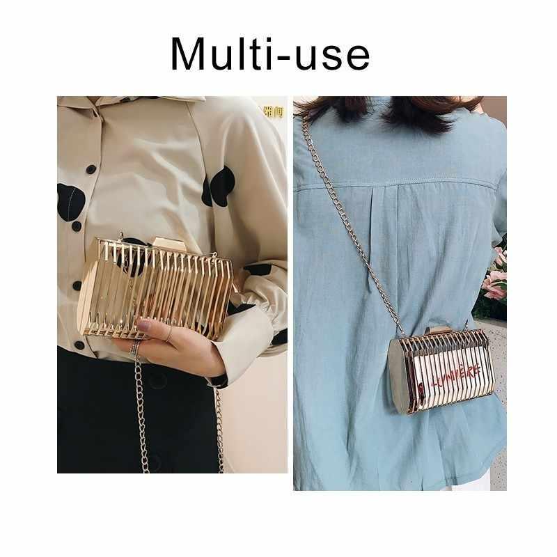 TTOU Женская вечерняя сумка через плечо из металла Полые сумки через плечо дизайнерские клатч клетка Мода 2019 летняя сумочка