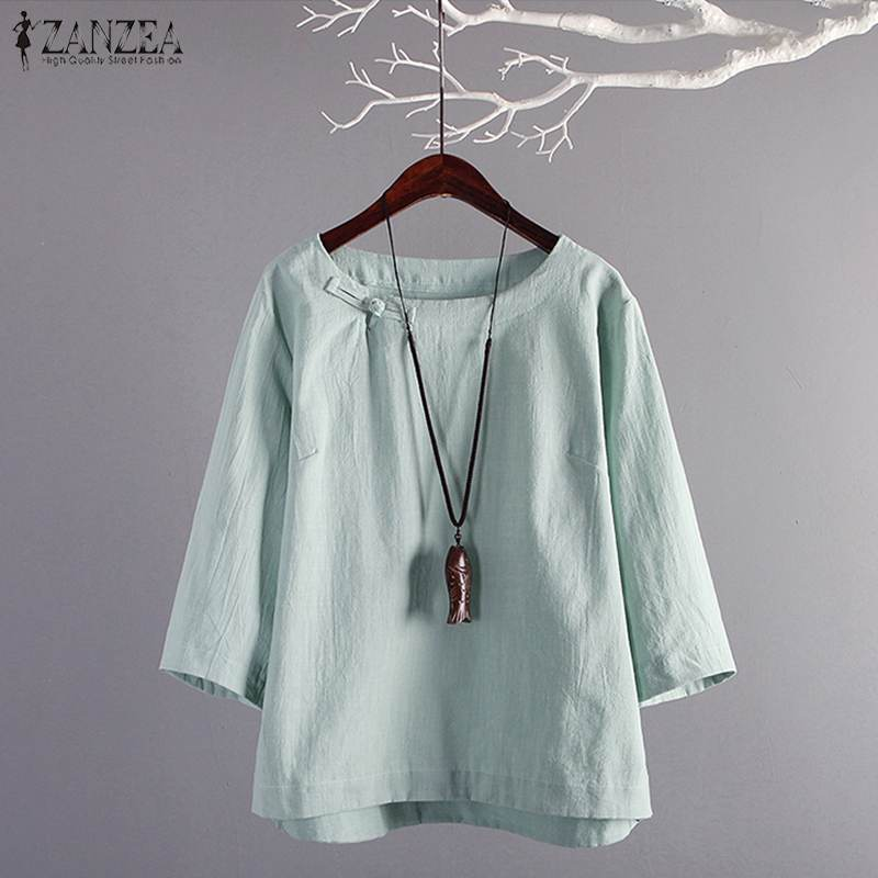Plus Size ZANZEA Summer Women Vintage 3/4 Sleeve Solid Blouse Cotton Linen Shirt Female Casual Work Blusas Tunic Top Femininas