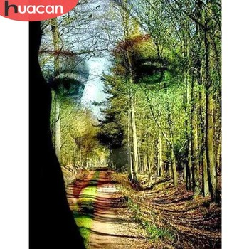 HUACAN Diamond Painting Picture Of Rhinestone Face Full Square Mosaic Embroidery 5D DIY Forest  Home Decor Handmade - discount item  37% OFF Arts,Crafts & Sewing