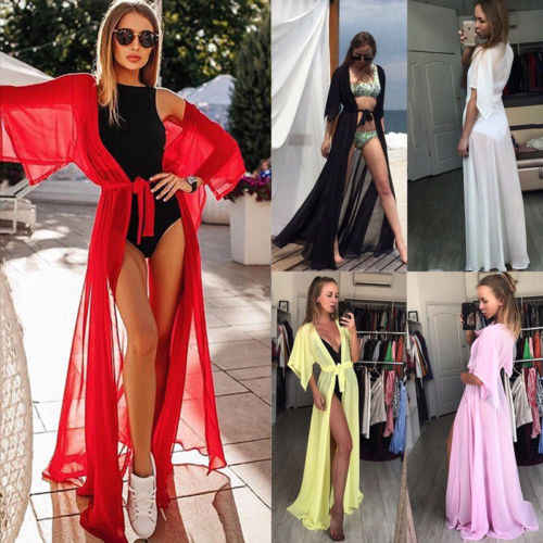 fff2b0a379709 Details about Hot Women Bikini Cover Up Cardigan Swimwear Bikini Swimwear  Cover Up Long Maxi Dress