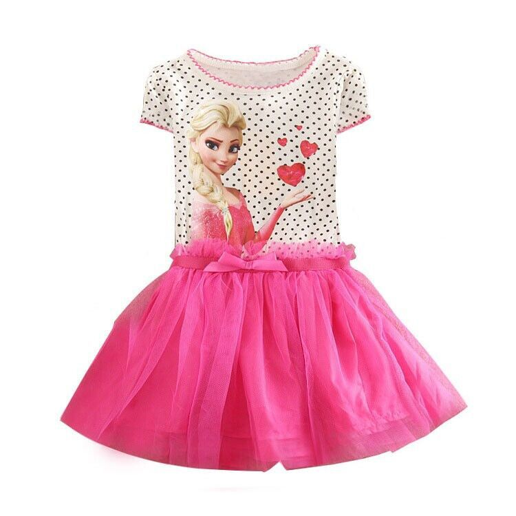Kids 2-7år New Girls Kjoler Vestidos Elsa Kjole Kids Snow Queen Børn Tøj Summer Girl Lace Prinsesse Anna Party Dress