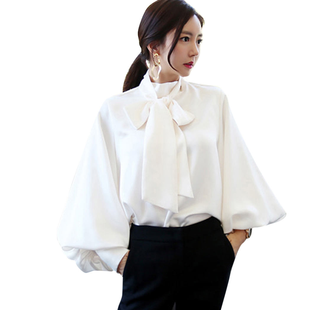 Korean Womens Tops And Blouses Lace Up Bow Lantern Sleeve -5275